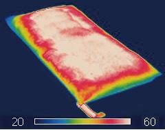 布団乾燥時の熱分布